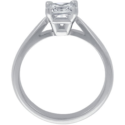 Four-Claw Tapered Shank Classic Solitaire Engagement Ring Setting in Platinum