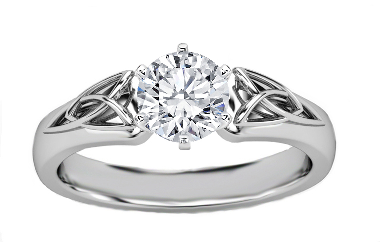 Engagement Ring Triquetra Celtic Diamond In 14k White Gold Es835brwg