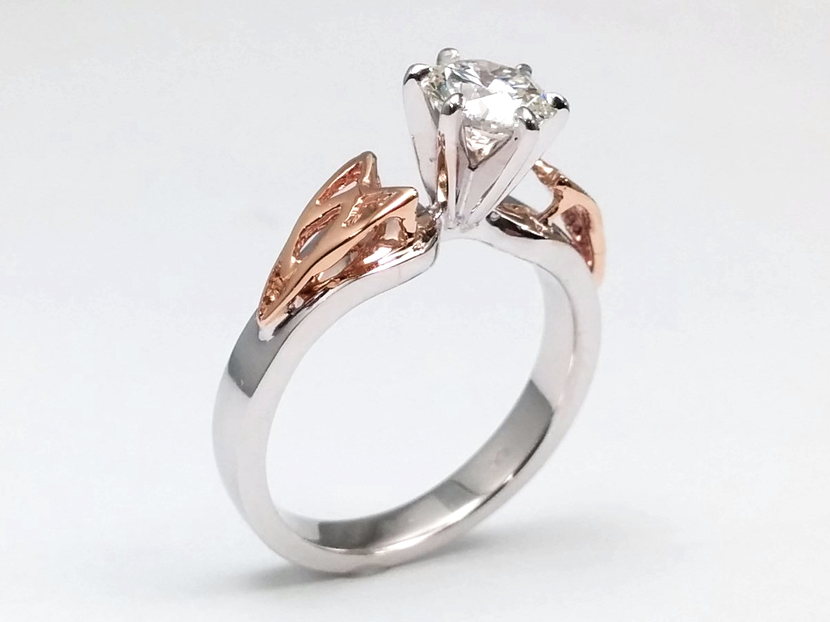 Two Tone Triquetra Celtic Engagement Ring in 14K White Gold, Rose Gold