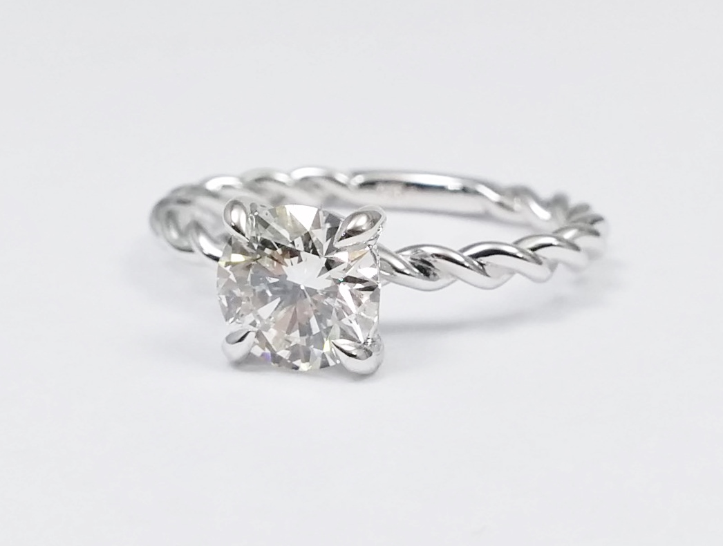 Woven Solitaire Diamond Engagement Ring in 14K White gold