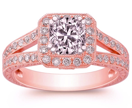 Cushion Diamond Halo Engagement Ring Pave split band 0.5 tcw in Rose Gold