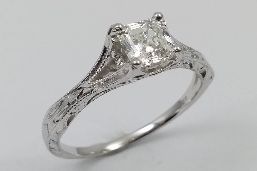 Vintage Petite Hand Engraved White Gold Filigree Engagement Ring
