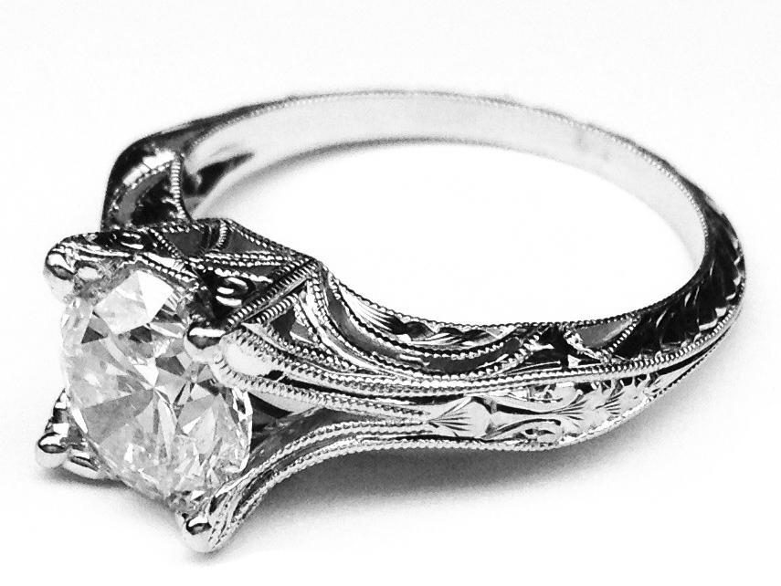 Engagement Ring Vintage Petite Hand Engraved White Gold Filigree