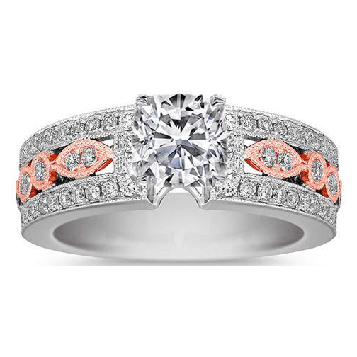 Cushion Diamond Filigree vintage pave two-tone engagement Ring  0.87 tcw Rose/Pink-gold