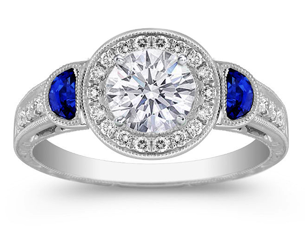 Diamond Halo Engagement Ring Blue Sapphire Half Moons Sides in 14K White Gold