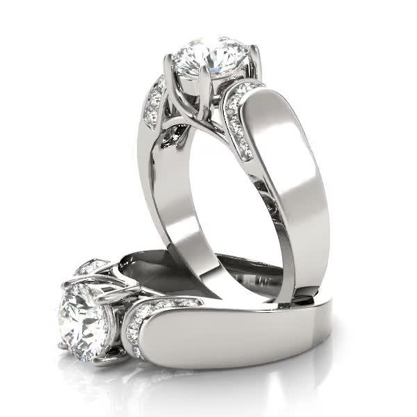 Trellis Diamond Horseshoe Engagement Ring