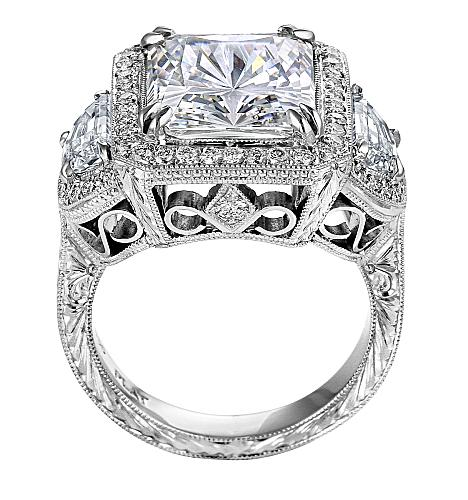 Square Diamond Vintage Engagement Ring with Half Moon Diamonds in 14K White Gold