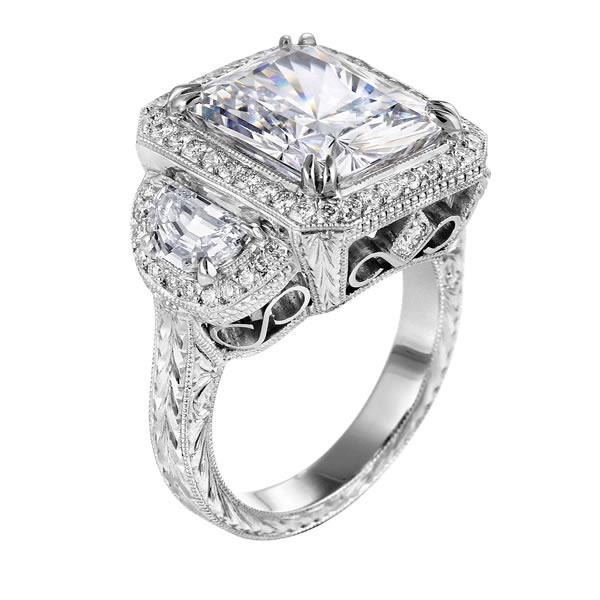 square diamond vintage engagement ring with half moon diamonds in 14k white gold - Square Cut Wedding Rings