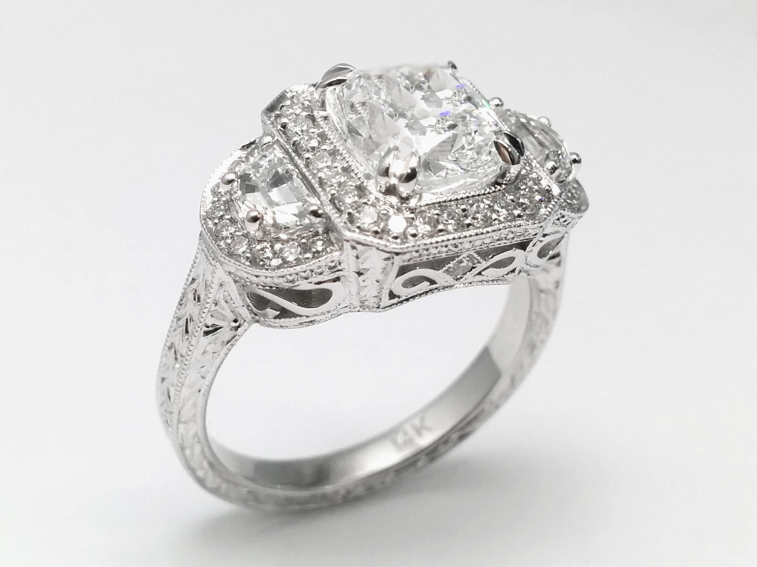 Cushion Diamond Vintage Engagement Ring with Half Moon Diamonds