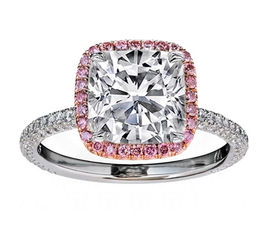 engagement product halo diamond rings ring stone round and three pink sapphire