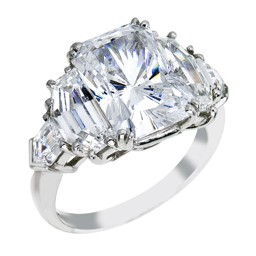 Radiant Diamond Engagement Ring, Cadillac and Bullet Side Stones in Platinum