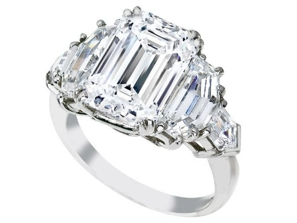 Emerald Cut Diamond Engagement Ring, Cadillac and Bullet Side Stones