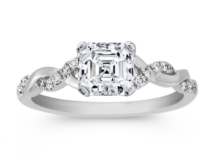 Asscher Cut Diamond Petite Twisted Pave Band Engagement Ring in 14K White Gold