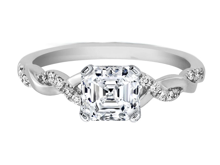 Asscher Cut Diamond Petite Twisted Pave Band Engagement Ring