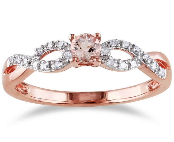 Morganite infinity Diamond Ring in 14K Rose-Pink Gold