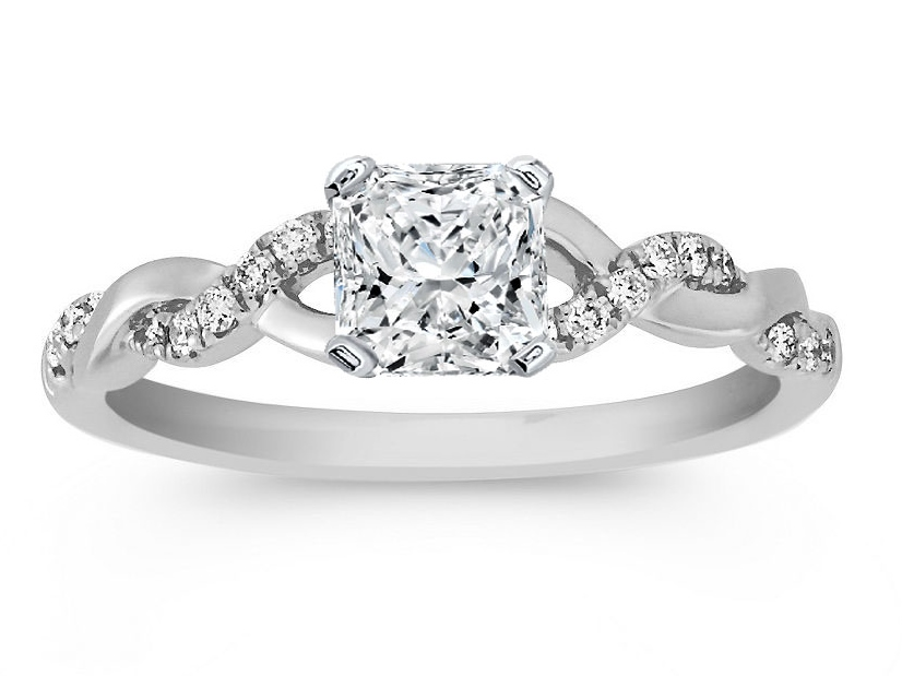 Radiant Cut Diamond Petite Twisted Pave Band Engagement Ring in 14K White Gold