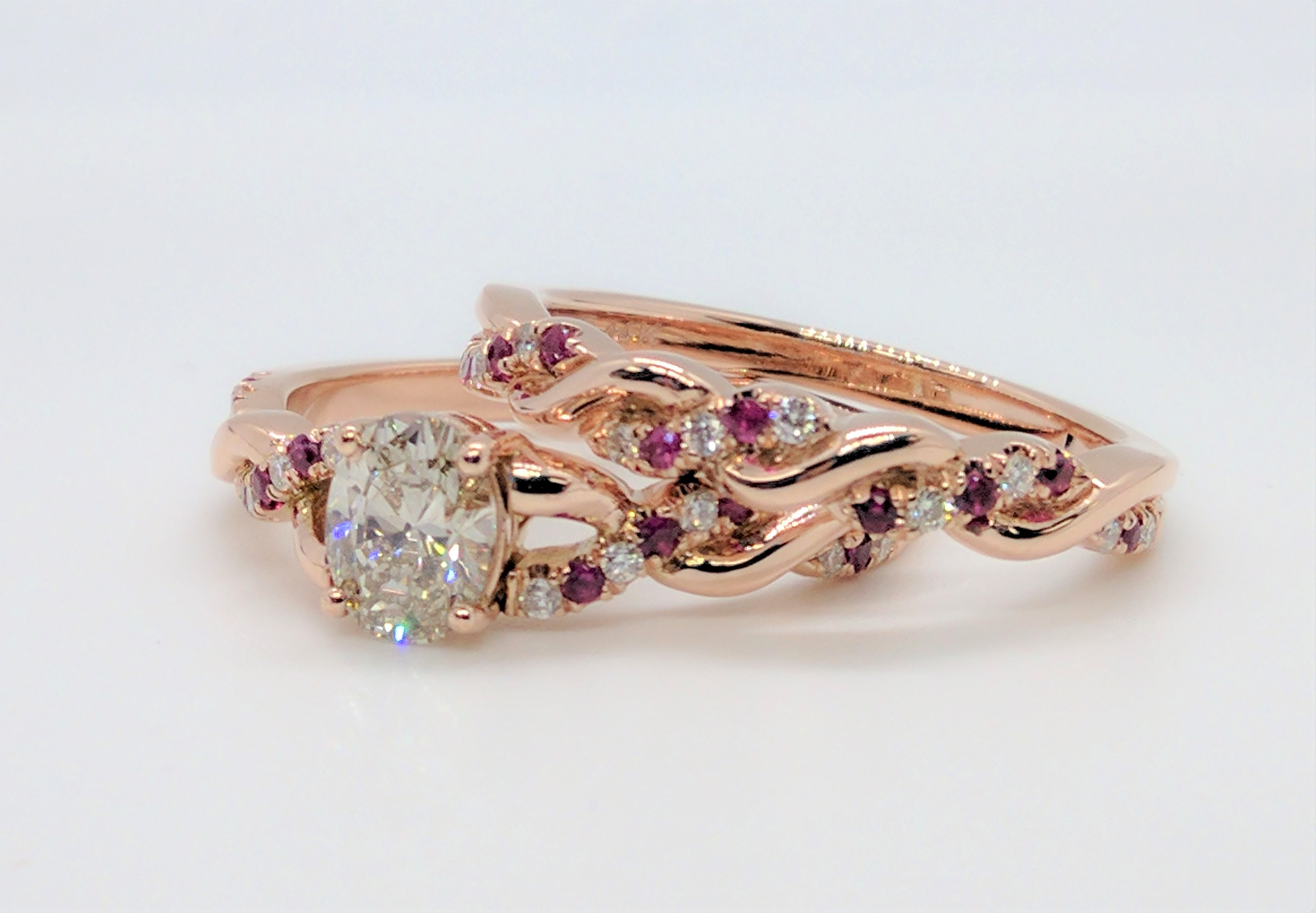 Oval Diamond Infinity Ruby  Bridal Set Rose Gold