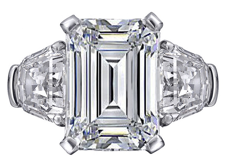 Large Emerald cut Diamond Engagement Ring with Shield cut side Diamonds in Platinum