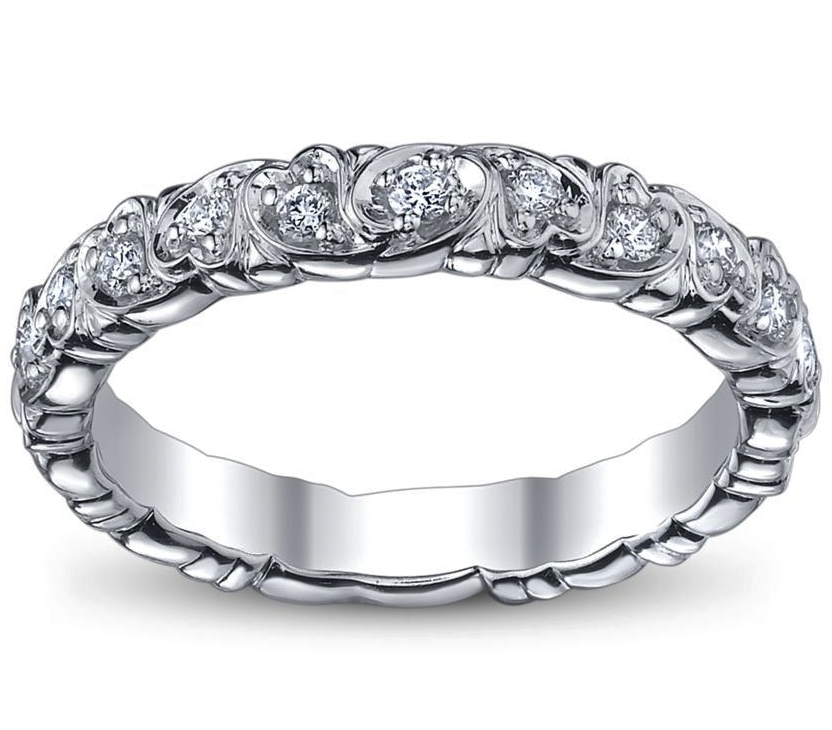 Duo Hearts pave wedding ring