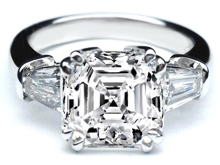 Asscher Cut Diamond Engagement Ring Tapered Baguette Accents in 14K White Gold