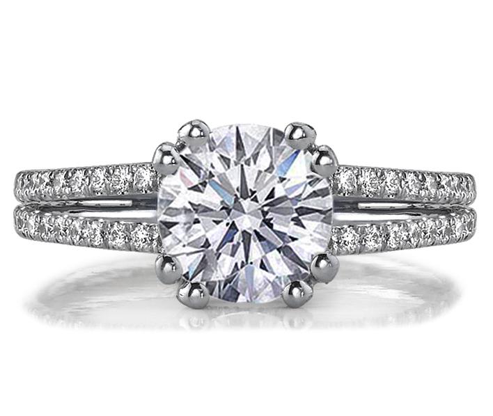 Engagement Ring Double Band U shape Pave Prongs Diamond