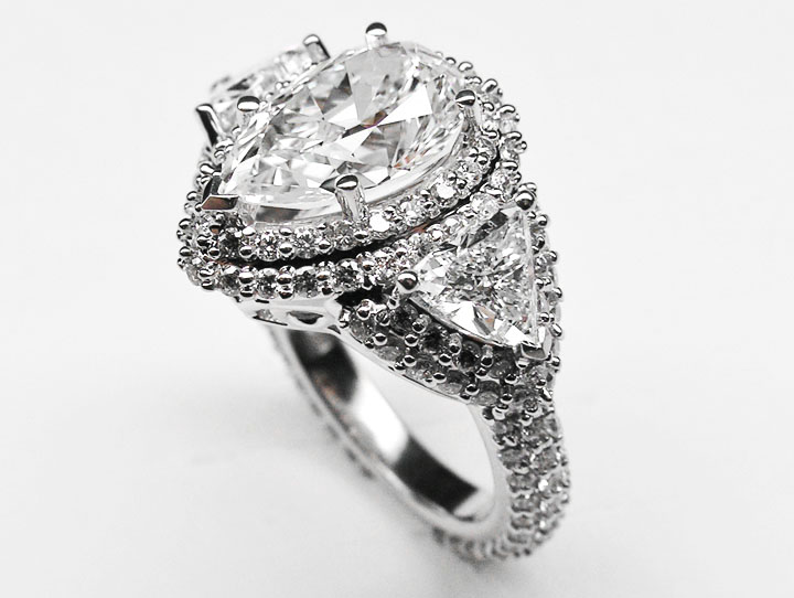 Pear Shape Diamond Vintage Engagement Ring Setting trillion side stones 2.4 tcw in Platinum