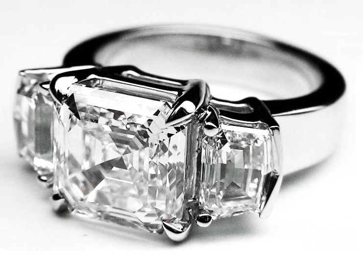 Large Asscher Cut Diamond Engagement Ring Cadillac Step cut Side Stones