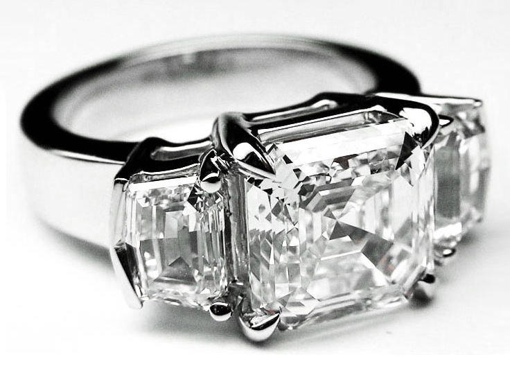 Large Asscher Cut Diamond Engagement Ring  Cadillac Step cut Side Stones in 14K White Gold