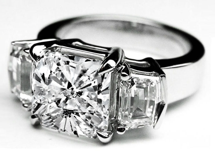 Large Cushion Cut Diamond Engagement Ring Cadillac Step cut Side Stones