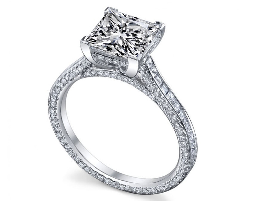 Princess Diamond three sides pave eternity Engagement Ring 2.7 tcw