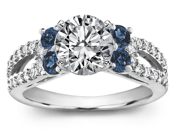 cut blue cathedral prong accent double vintage majesty round engagement set bijoux diamond o rings stone multi