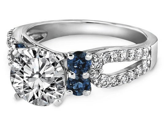 Open Pave Horseshoe Diamond Engagement Ring Blue Accent in 14K White Gold