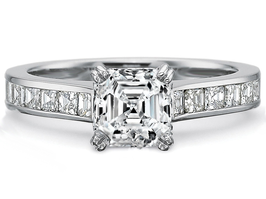 Engagement Ring Asscher Diamond Engagement Ring square Diamonds band in 14K