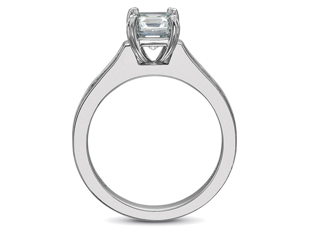 Princess Diamond Engagement Ring square Diamonds band in 14K White Gold, 0.80tcw.