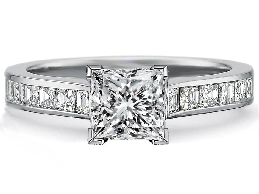 Engagement Ring Princess Diamond Engagement Ring square Diamonds band in 14K