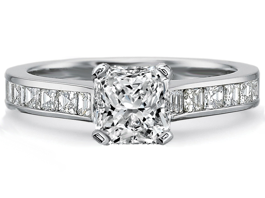Radiant Diamond Engagement Ring square Diamonds band in 14K White Gold, 0.80tcw.