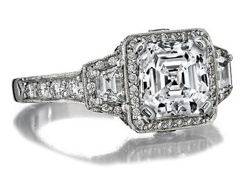 Asscher Diamond Halo Engagement Ring trapezoids side stones 1.34 tcw