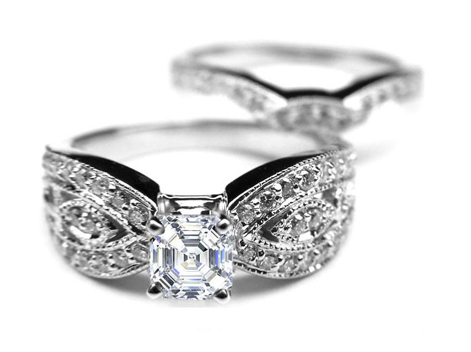 Asscher Cut Diamond Butterfly Engagement Ring & matching Wedding band Bridal set