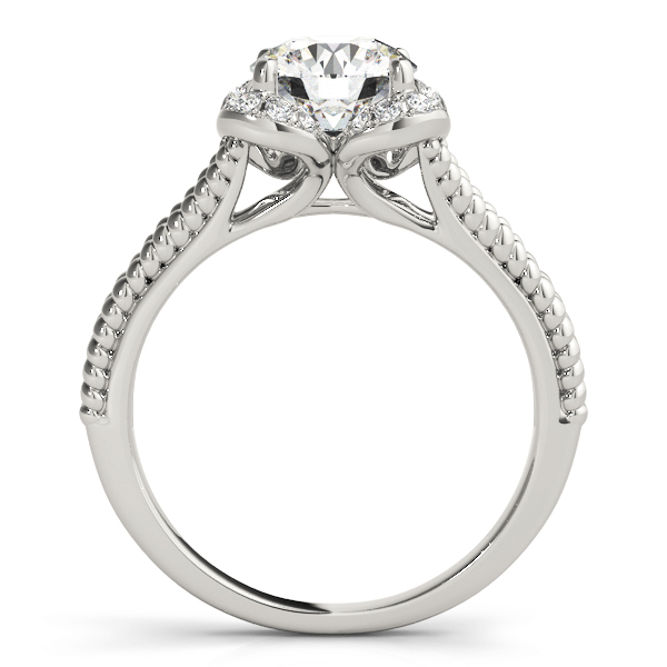 Floral Diamond Halo Engagement Ring with Rope Split Band