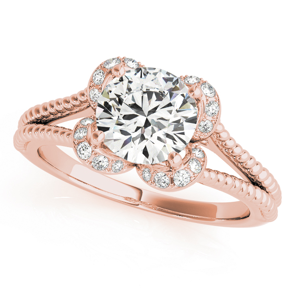 Floral Diamond Halo Bridal-Set with Rope Split Band in Rose Gold