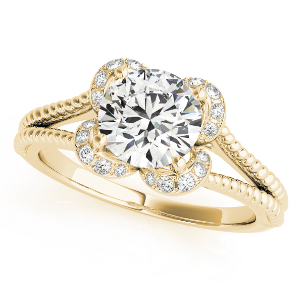 Floral Diamond Halo Engagement Ring with Rope Split Band in Yellow Gold