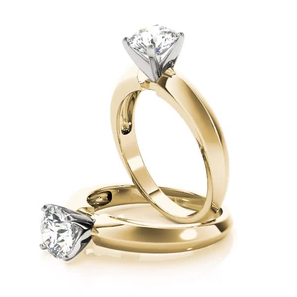 Classic Knife Edge Solitaire Engagement Ring Yellow Gold