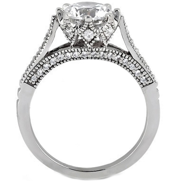 Edwardian Eight Prong Diamond Engagement Ring