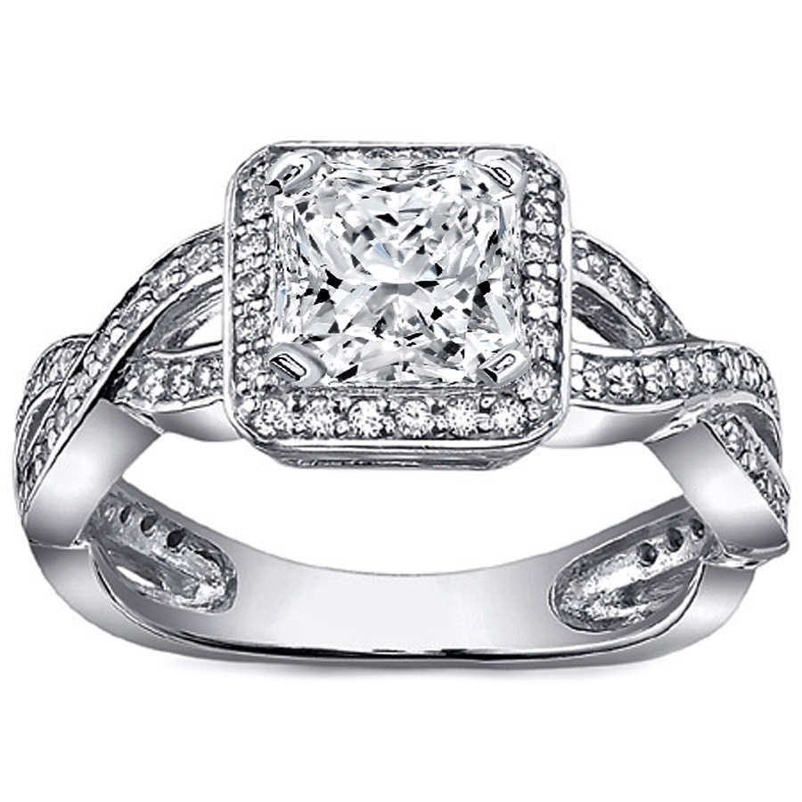 Radiant Diamond Halo Pave Twisted band Engagement Ring in 14K White Gold