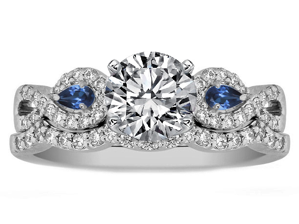 Engagement Ring Infinity Engagement Ring & matching Wedding Ring Blue Sa