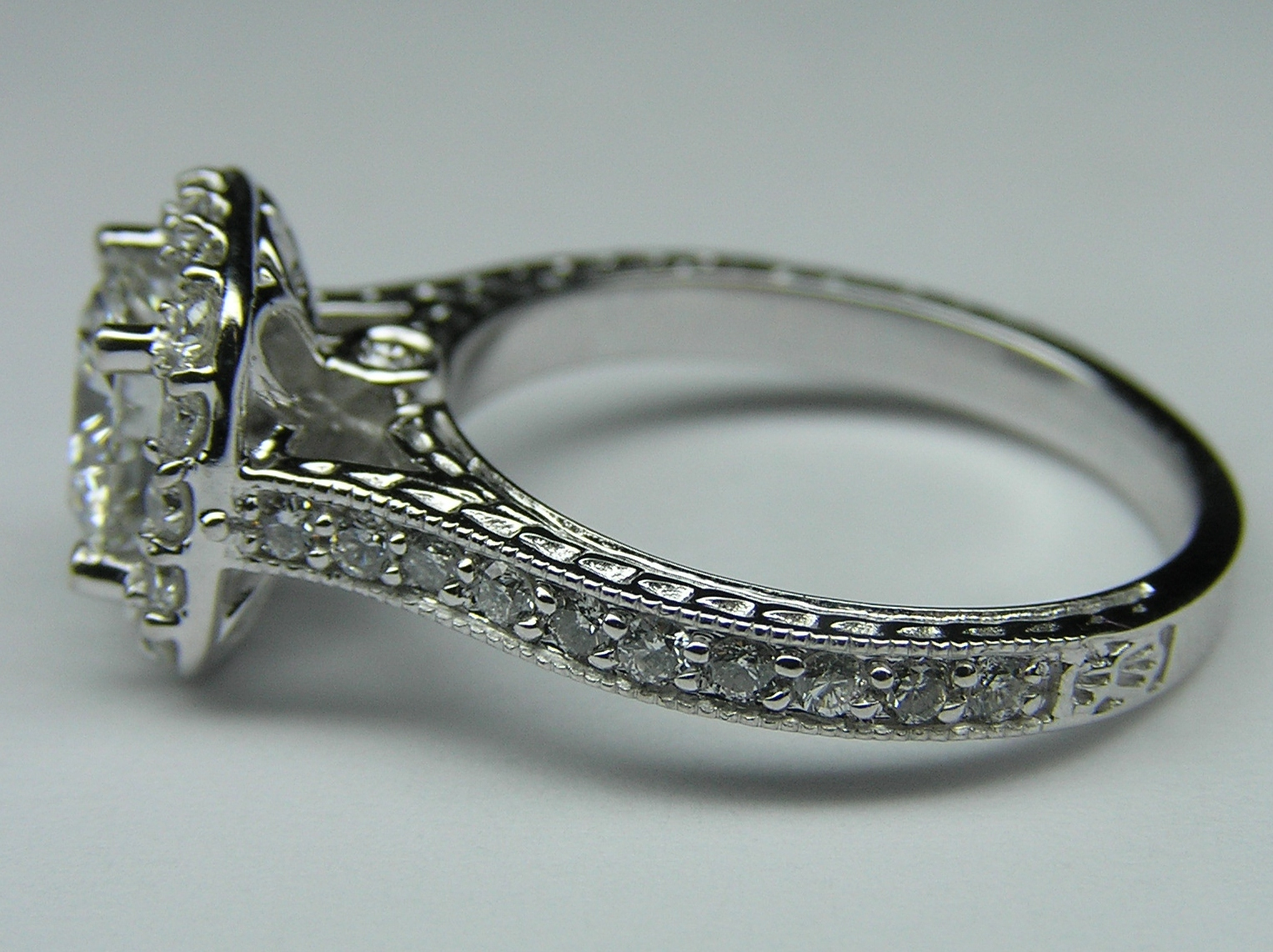 Halo Engagement Ring Setting Floral Gallery in 14K White Gold