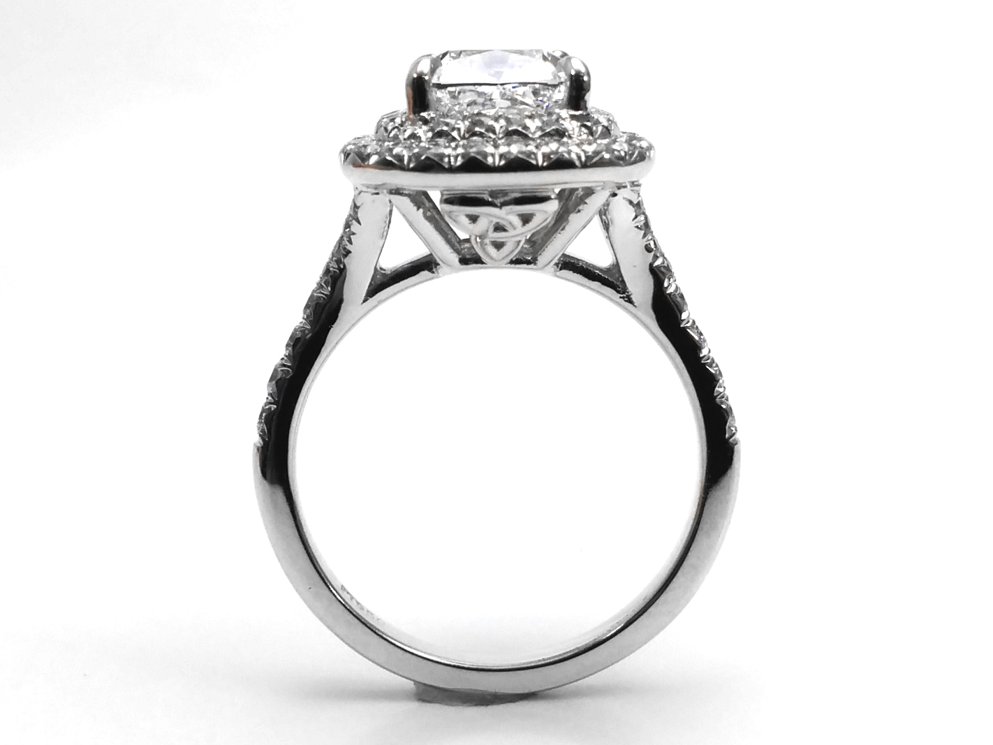 Cushion Diamond Double Halo Celtic Engagement Ring in 14K White Gold