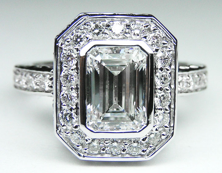 Emerald Cut Diamond Bezel Set Double Halo Engagement Ring