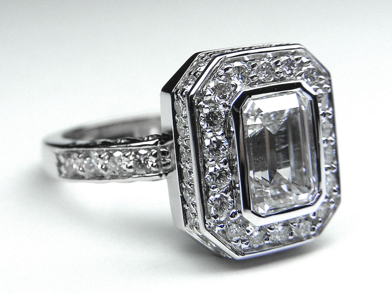 Engagement Ring Emerald Cut Diamond Bezel Set Double Halo Engagement Ring ES