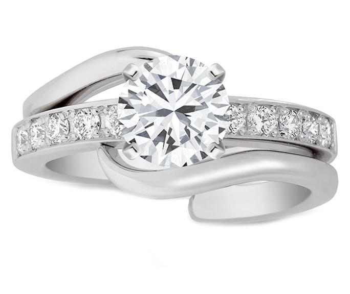 interlocking bridal set diamond engagement ring matching wedding band - Interlocking Wedding Rings